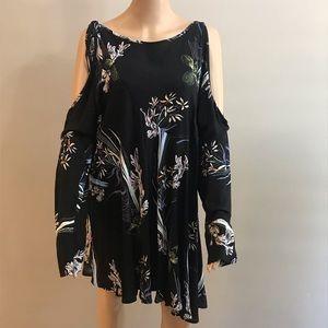 Free people dress black floral prints Sz L